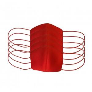 Пять многоразовых защитных масок для лица, неопрен, красные арт. 1075