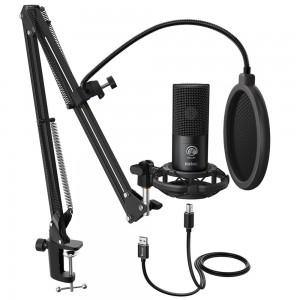 Конденсаторный студийный микрофон FIFINE K669B со стойкой и поп-фильром, арт. 1123