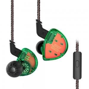 Гибридные наушники KZ ES4 с микрофоном зеленые, арт. 743