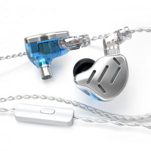 Гибридные наушники KZ ZAX синие с микрофоном, арт. 1271