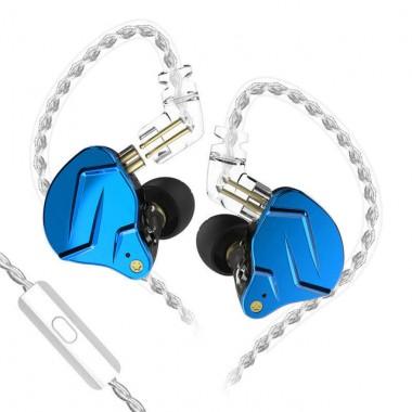 Гибридные наушники KZ ZSN Pro X синие с микрофоном, арт. 1282
