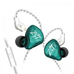 Гибридные наушники KZ ZST X зеленые с микрофоном, арт. 1139