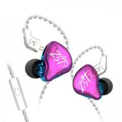 Гибридные наушники KZ ZST X фиолетовые с микрофоном, арт. 1137