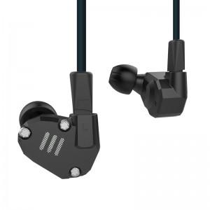 Четырехдрайверные гибридные наушники KZ ZS6 с микрофоном, черные, арт. 490