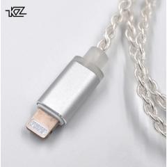 Серебряный Lightning провод для наушников KZ ZST/ZS10 арт. 672